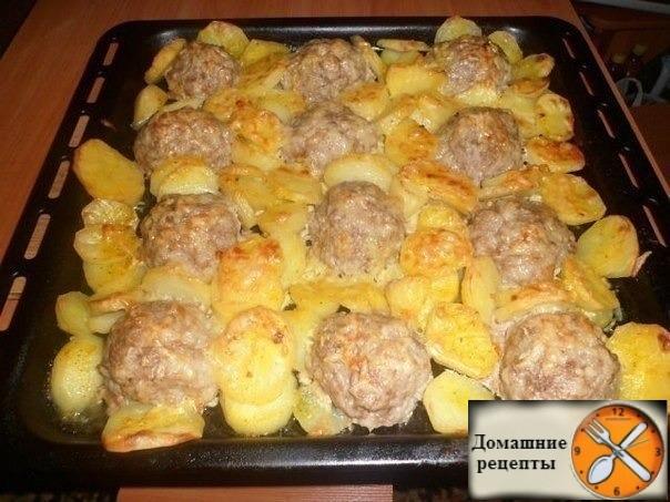 Мясные ёжики с картошкой под сыром