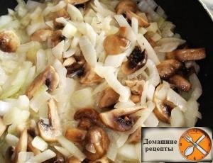 Мясо в горочках с картофелем и грибами