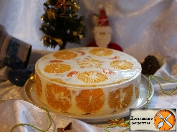 """Желейный торт """"Фруктовый новый год"""""""