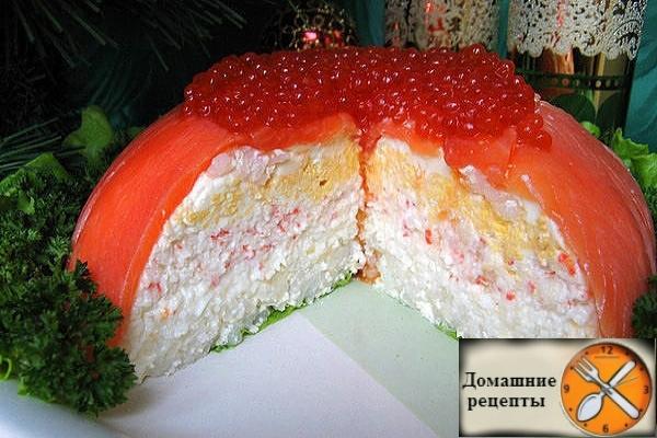 Закусочный торт из красной рыбы