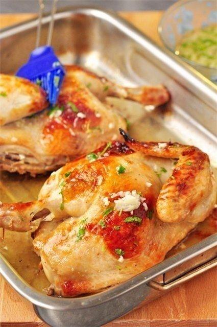 Обалденная жаренная курочка с чесночным соусом и вкуснейшее пенне в сырно-сливочном соусе