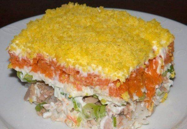 Рецепт салата «Мимоза», подаем