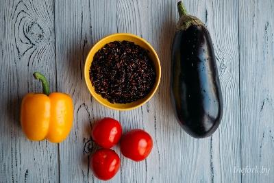 Черный рис с овощами 3