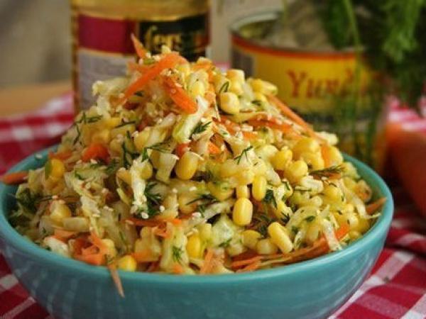 Салат с капустой, кукурузой и без майонеза